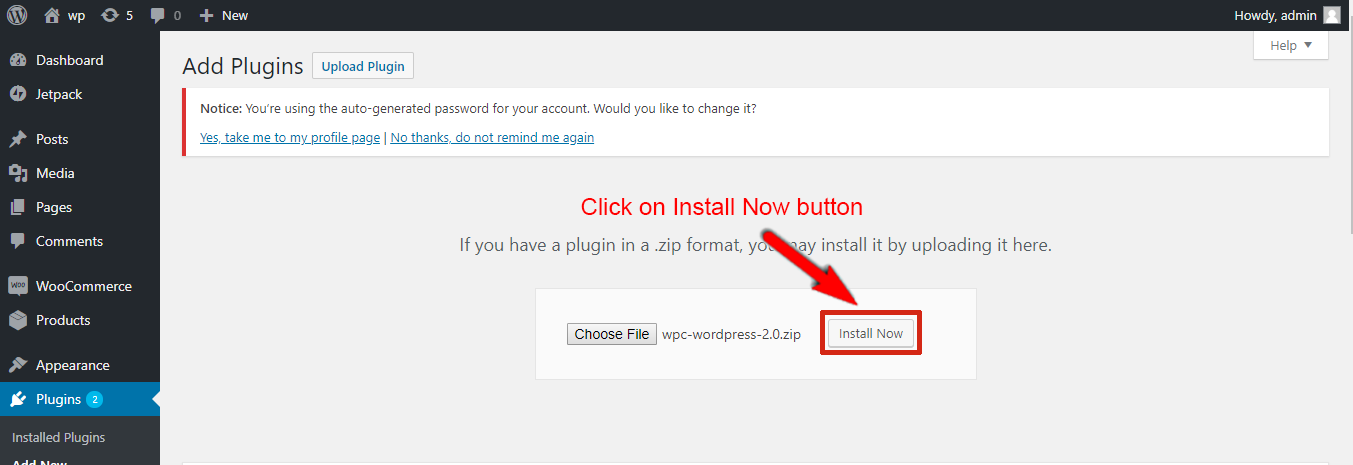 Then click on Install Now button