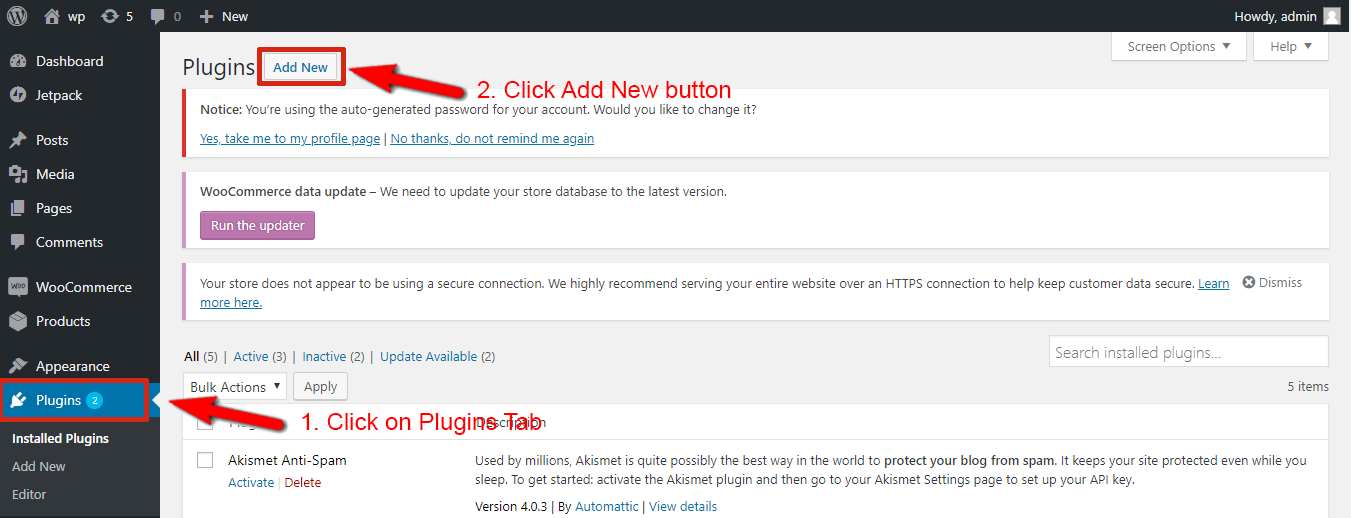 Click on Plugins menu on the left sidebar > click Add New button