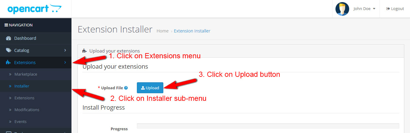 Click on Extensions menu on the left sidebar > click Installer sub-menu