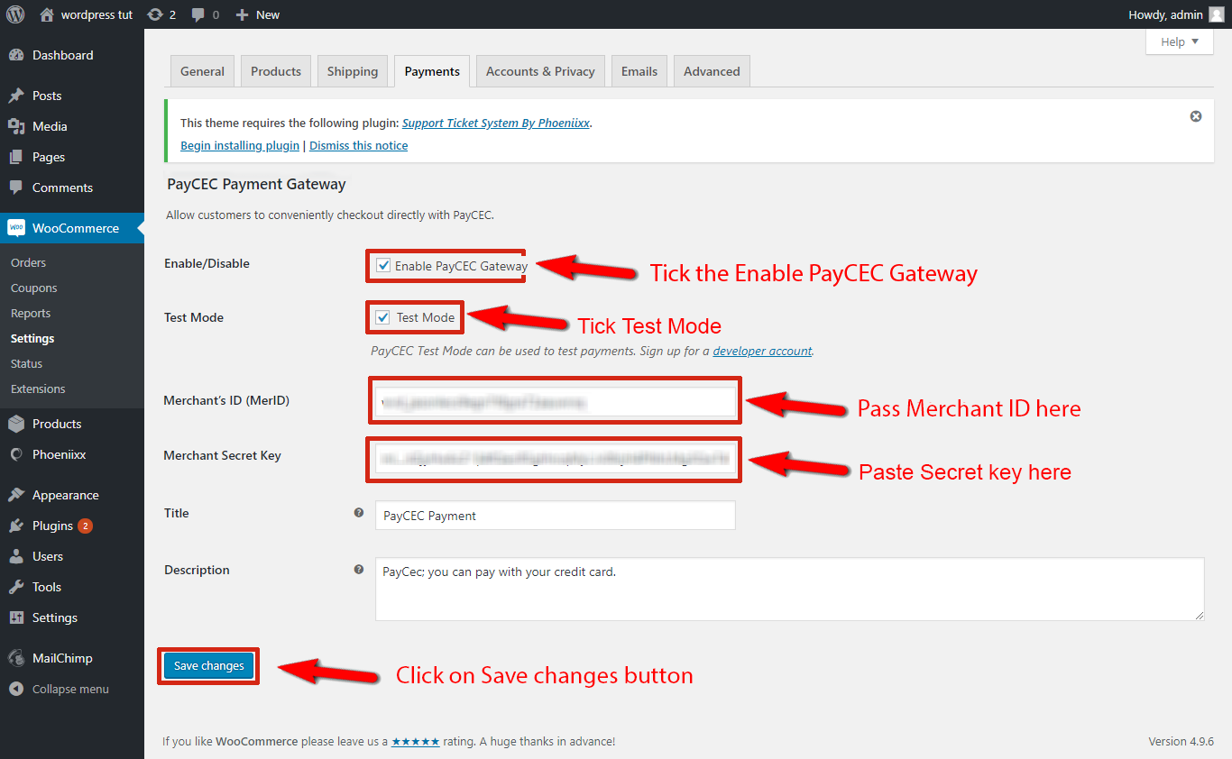 Tick Enable PayCEC GateWay. You need to paste Merchant username and Secret key. Untick Test Mode. You can enter a Title and Description shown to customers in checkout. Click on Save changes button