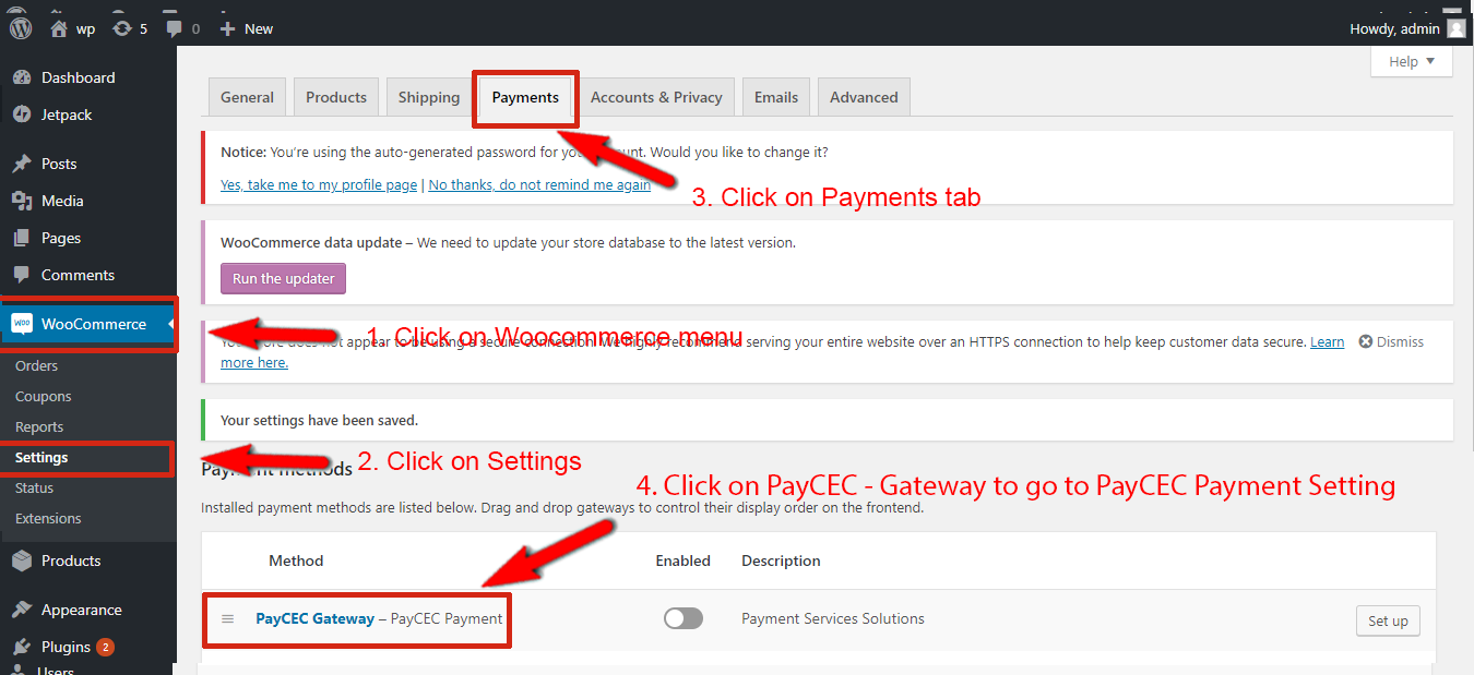 Go to: WooCommerce > Settings > Payments > PayCEC Gateway